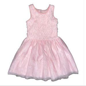 Like New- Girls Pink Floral Embossed Tutu Dress